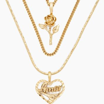 The Cielo Rose & Amor Necklace - Gold