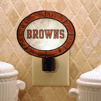 Cleveland Browns Hand-Painted Glass Nightlight