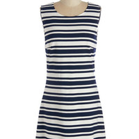 ModCloth Nautical Mid-length Sleeveless Shift Lovely Alignment Dress