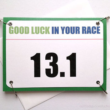 Half Marathon Good Luck Race Bib Running Greeting Card - You Can Do It - 13.1 Race Number or Personalized Bib Number of Your Choice