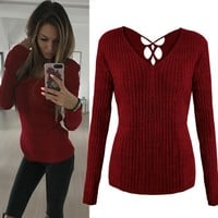 Autumn Long Sleeve Sexy V-neck Tops T-shirts [45376864271]