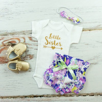 Little Sister outfit | Purple Flowers High Waisted Bloomers and Knotted Headband | Gold Little Sister Outfit