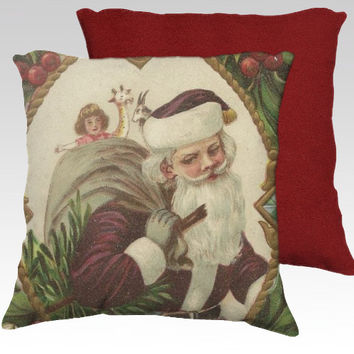 Jolly Santa Claus and Sack of Toys Christmas Pillow Cover ~ Velveteen Decorator Pillow Cover 18x18 Ideal Christmas Holiday Home Décor
