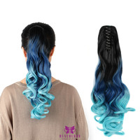 "Claw Style 20"" Hair Extensions Clip Synthetic Ponytail Hair Ombre Three Tone"