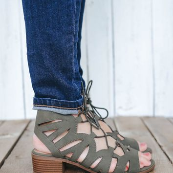 Twin Cities Heeled Sandals - Olive