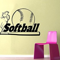 Softball Wall Decal Sport Wall Decals Vinyl Stickers Teens Girl Nursery Baby Room Home Decor Art Bedroom Design Interior C374