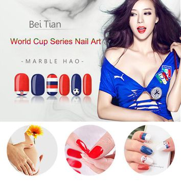 10 Sheets World Cup Nail Sticker Soccer Decals 3D Nail Art Decor DIY Manicure Supplies Nail Art Women Makeup Stickers HB88