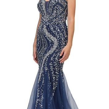 Rhinestone Embellished Mermaid Prom Gown Navy Blue