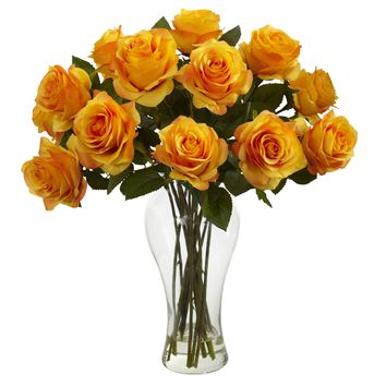 Artificial Flowers -Blooming Orange Yellow Roses With Vase Silk Flowers