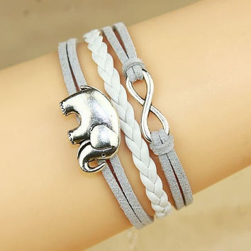 Elephant Bracelet Infinity Bracelet Antique silver Wax Cords and suede Leather Bracelet = 1931838724