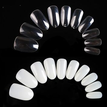600pcs/pack Natural Clear White Color Oval Stiletto Pointy Full False Nail Tips Almond Shape Acrylic Nail Art
