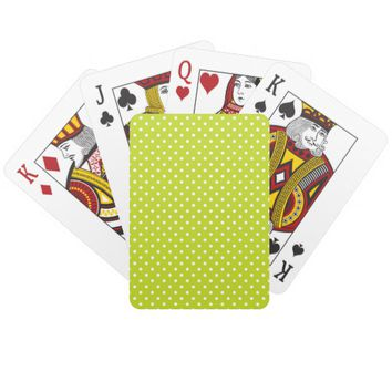 Vivid Lime Green White Polka Dots Playing Cards