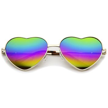Women's Metal Frame Colored Mirror Rainbow Lens Heart  Sunglasses 61mm