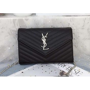 YSL Yves Saint Laurent Caviar Twill Envelope Bag Chain Bag Shoulder Clutch Bag -BCZ(CJZX) black