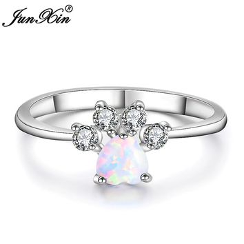 JUNXIN Boho Male Female White Opal Stone Ring Fashion Bear Paw Cat Claw Ring Promise Wedding Engagement Rings For Men And Women