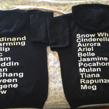 Free Two Day Shipping For US Disney Princess and Prince Couples Hoodies