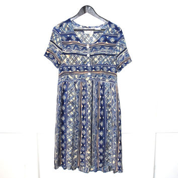 TRIBAL print 90s dress early 1990s GRUNGE relaxed fit baby doll dress os