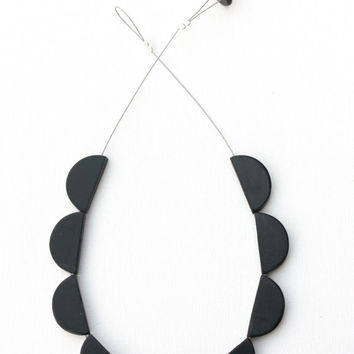 Black scallop necklace, minimal polymer clay jewelry, geometric