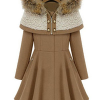 Camel Long Sleeve Flare Coat with Cape Hood