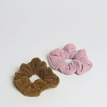 ASOS Pack of 2 Metallic Scrunchies at asos.com