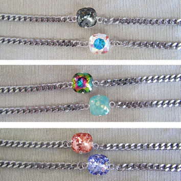 Mini Sweets / Small Swarovski Crystal Chain Bracelet / Curb Chain / AB  / Chunky Chain / Cushion Cut / Aurora Borealis / Chain Link / Gold