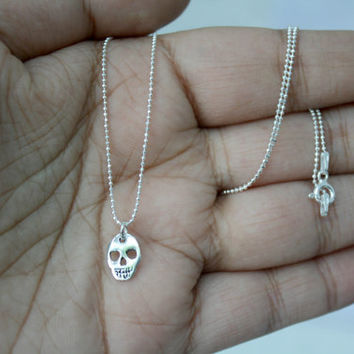 "925 Sterling silver skull Necklace with 18"" chain - Dainty Layering Necklace - Delicate Jewelry - Tiny Silver Skull pendant - Gift for her"
