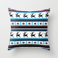Retro Christmas Stripe Throw Pillow by markmurphycreative