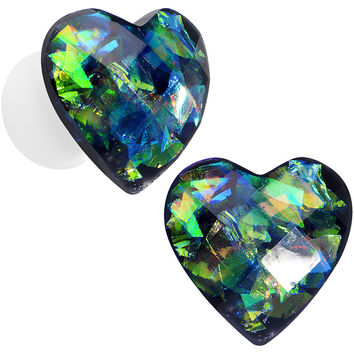 2 Gauge Multicolor Heart White Acrylic Saddle Plug Set