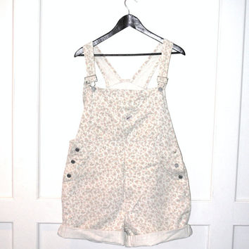 GUESS jeans overalls early 90s GRUNGE floral denim SHORTALLS vintage dungarees shorts os