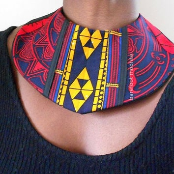 Unique African Patchwork Collar, Colorful Tribal Bib necklace, One of a Kind statement piece, B Modiste Handmade fabric neckwear