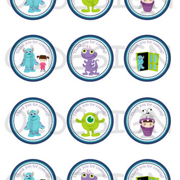 Monsters Inc . 2 Inch Circles. Stickers, Cupcake Topper, Tags, great for birthday partys. Digital file