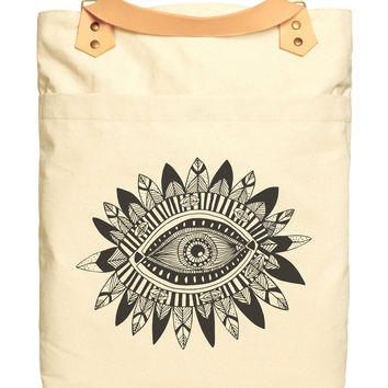 Aztec Tribal Eye Print 100% Cotton Canvas Leather Straps Laptop Backpack WAS_34