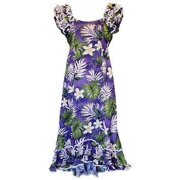 Amazon Purple Hawaiian Meaaloha Muumuu Dress with Sleeves