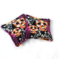 Skulls and Flowers Flannel Hand Warmers - Neon Pink Black Reusable Rice Hand Warmers