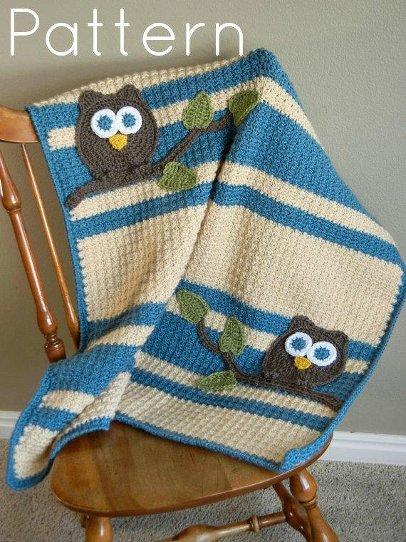 Crochet Pattern Owl Baby : PDF Owl Baby Blanket Crochet Pattern from abbycove on Etsy ...