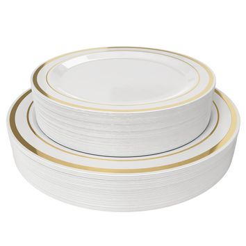 Disposable Plastic Plates - 60 Pack - 30 x 10.25 Dinner and 30 x 7.5 Salad Combo - Gold Trim Real China Design - Premium Heavy Duty - By Aya's Cutlery Kingdom