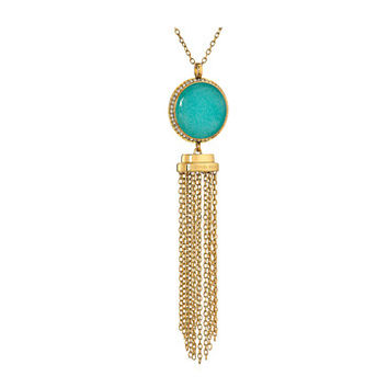 Michael Kors Tone Blue Mountain Jade and Crystal Long Pendant Necklace