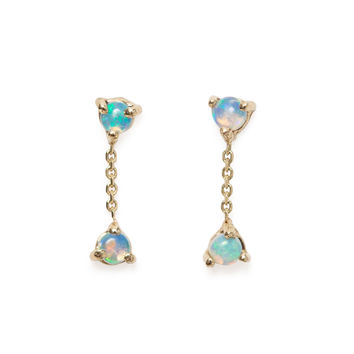 Two Step Chain Earrings, Opal - New Arrivals - Catbird