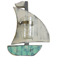Sailboat with Mason Jar Vase in Multi Color Paint technique Wall Decor Bathroom Decor Wall Organizer Nursery decor Cotton ball Qtip Holder