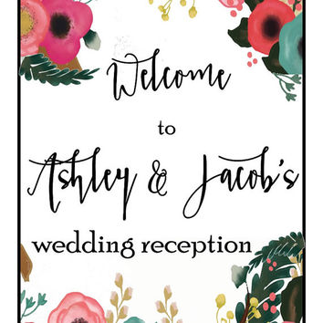 wedding reception printable, custom welcome sign, personalized wedding signage, diy wedding print,  boho chic reception prints, table decor