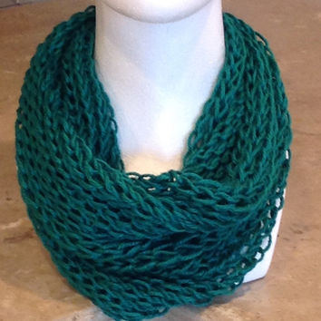 Emerald Green St. Patrick's Day Open Knit Holiday Infinity Knitted Scarf