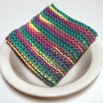 Large Dishcloth/ Washcloth, Hand Knit, 100% cotton, Mix and Match to Make a Custom Set, Housewarming Gift, Wedding Gift, Baby Shower Gift