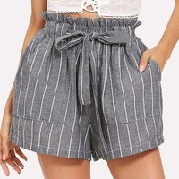 Self Tie Waist Striped Paperbag Shorts