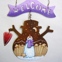 Rustic Snowman Shape Tole Painted Welcome Cold Winter Nights Ornament