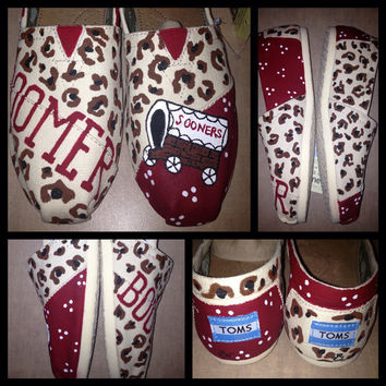 OU custom painted shoes toms available by SweetHeartShoes on Etsy