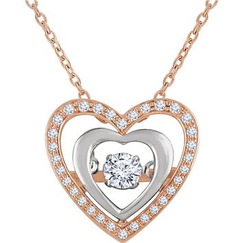 14k Rose & White Gold 1/4 CTW (I1, H-I) Diamond Heart Necklace, 18 In.