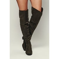 Savanna Faux Suede Boots (Olive)