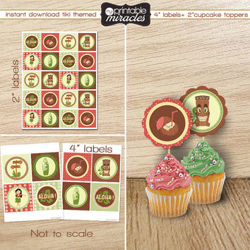 Retro hawaiian luau cupcake toppers, Printable tiki party labels, Luau themed circles, Kids luau party decoration, INSTANT DOWNLOAD