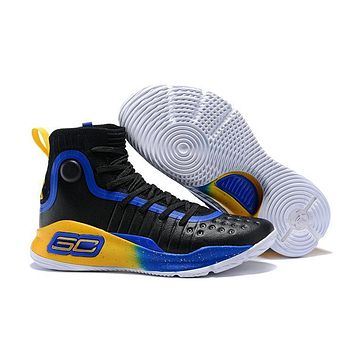 Under Armour UA Curry 4 Black Royal Blue Gold Basketball Shoe