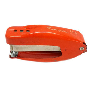 Orange Swingline Cub Plier Stapler Vintage Mid Century Mod Office Supply Retro Desk Accessories Decor 50s 60s Hand Held Steel Chrome Stapler